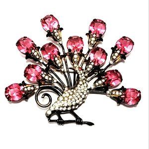 Large Vintage sterling silver pink & clear crystal peacock brooch